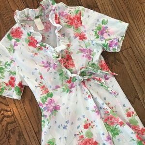 VTG 60s 70s Housewife Floral Dressing Gown Robe XS